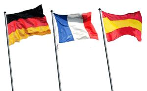 German French Spanish Flags